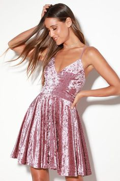 Bit of Bubbly Rose Pink Velvet Skater Dress - Lulus dbecd69ca