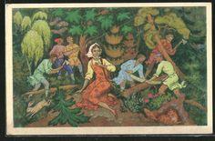 Alte Ansichtskarte: Künstler-AK Sascha, das Mädchen bei den Waldarbeitern beim Fällen der Bäume, russisches Märchen