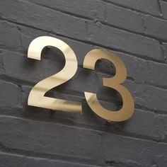 Modern Brass House Numbers - brass & copper are officially the materials of the moment in homeware and jewellery.