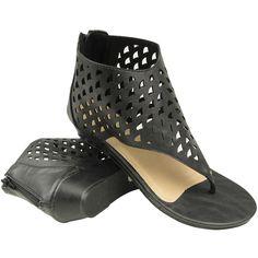 Women's Eyelet Gladiator Slip On Low Wedge Sandals Black Zipper Back Closure Size 5-10 found on Polyvore
