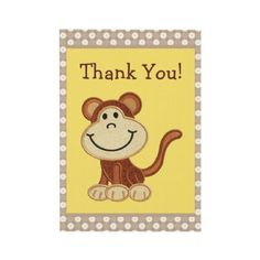 Cute little monkey custom thank you note cards - perfect for a Baby Shower. $1.75. Good volume discounts.