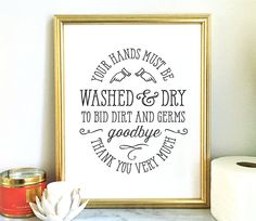 Wash Your Hands printable art - bathroom art bathroom wall decor - instant download 5x7 8x10 11x14