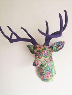 Green Paisley Deer Head Wall Mount. $200.00, via Etsy.