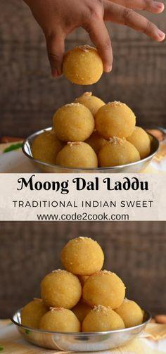 Yellow Moong Dal Laddu Recipe How To Make Moong Dal Laddu is part of Indian dessert recipes Moong dal laddu is a traditional Indian festive sweet Often prepared on Holi, Diwali, Janamashtmi or an - Indian Dessert Recipes, Indian Sweets, Indian Snacks, Sweets Recipes, Cooking Recipes, Indian Recipes, Veg Recipes, Spicy Recipes, Laddoo Recipe