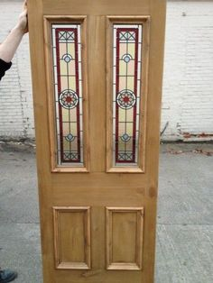 Victorian Edwardian Original Stained Glass Door Fully restored with the stunning Edwardian Star in Red - other colours available Exterior Doors With Glass, Front Doors With Windows, Exterior Front Doors, Glass Front Door, Glass Doors, Victorian Internal Doors, Internal Glazed Doors, Beveled Glass, Mosaic Glass