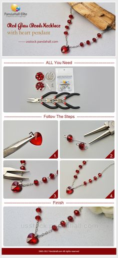 PandaHall Elite Craft Ideas: How to make heart pendant necklace with glass beads #pandahallelite #craft #heartnecklace #handamadeneckalce #glassbeads