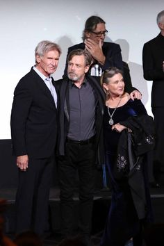 Harrison Ford, Mark Hamill and Carrie Fisher attend the World Premiere of Star Wars: The Force Awakens