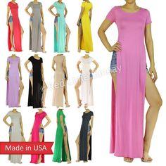 Trendy Celebrity Double Side Slits Split Long T Shirt Maxi Dress Regular Plus US #DRESS #Maxi #Casual