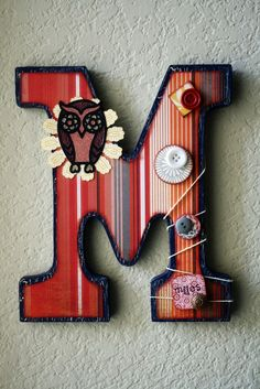 Boys Nursery Wall Letter or Shelf Monogram by LolaMonkey on Etsy. , via Etsy.