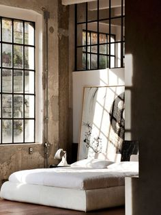 Industrial Bedroom Decor That Inspire - Real House Design Industrial Bedroom Design, Industrial House, Industrial Interiors, Industrial Windows, Industrial Chic, Industrial Bathroom, Industrial Shelving, Industrial Furniture, Industrial Wallpaper
