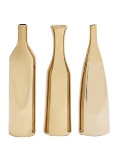 Shop for Carson Carrington Alavus Metallic Goldtone Finish Ceramic Vase (Set of Get free delivery On EVERYTHING* Overstock - Your Online Home Decor Outlet Store! Get in rewards with Club O! Ceramic Decor, Ceramic Vase, Contemporary Vases, Gold Vases, Vases Decor, Centerpieces, Joss And Main, Home Decor Accessories, Home Accents