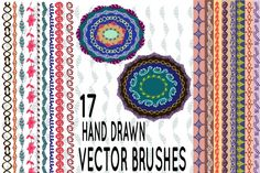 17 hand drawn vector pattern brushes. Consists of 3 file formats (Adobe Illustrator - AI (RGB), Vector - EPS.8 (RGB) and JPEG)