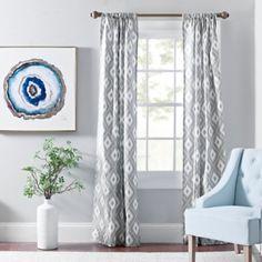 Gray Yasmin Ikat Curtain Panel Set, 84 in.