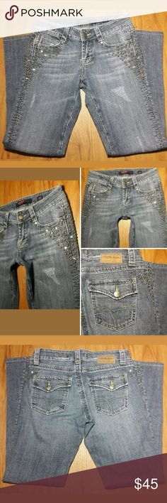 🌟FLASH SALE🌟CYBER MONDAY SPECIALS🌟 VIGOSS U.S.A. PREMIUM JEANS   Women's Distressed Denim Flare Jeans Studded With Rhinestones Accents Size 5/6. These jeans are a must have Super Cute. The Perfect addition to add to your wardrobe.  Pre-owned in excellent condition, New Like  Thank you for Looking &Sharing Happy Poshing😄💗 Vigoss Jeans Flare & Wide Leg