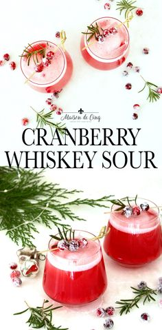 With a perfect blend of sweet and tart, and an oh-so-festive color, this Cranberry Whiskey Sour just might be the perfect holiday cocktail!---#maisondecinq holidaycocktail cranberrycocktail whiskeycocktail whiskeysour cranberrywhiskeysour cocktailrecipe Christmas Cocktails, Holiday Cocktails, Christmas Recipes, Homemade Hot Chocolate, Hot Chocolate Bars, Summer Drinks, Fun Drinks, Refreshing Drinks, Beverages