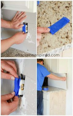 Place a strip over your outlet. Lay out another piece of tape with the sticky side down and roll the ends back toward you like the picture b...