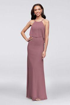 200fdfe0204 Flounced Crinkle Chiffon Sheath Bridesmaid Dress Style F19773