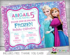 Frozen Birthday Invitation / Frozen Birthday Invite / Frozen Invite / Frozen Invitation - Personalized Printable Invite - Pink