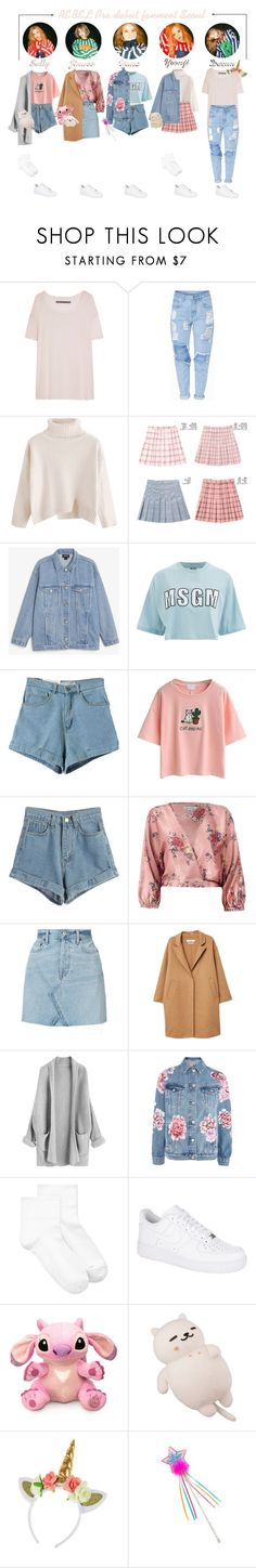 """"""":REBEL 반역자 - Pre-Debut fanmeet Seoul:"""" by officialxrebel ❤ liked on Polyvore featuring Enza Costa, chuu, Monki, MSGM, WithChic, Sans Souci, RE/DONE, MANGO, Topshop and HUE"""