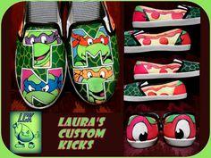 Custom Teenage Mutant Ninja Turtle shoes (TMNT).