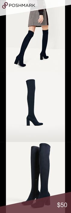 Zara stretch high heel boots UPPER  100% polyester  LINING  95% polyurethane, 5% polyester  SOLE  100% polyurethane thermoplastic  SLIPSOLE  100% goat leather Zara Shoes Over the Knee Boots