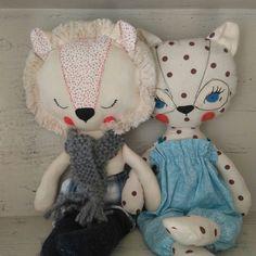 Lion and leopard, handmade fábric dolls