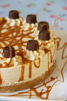 Caramel creamy cheesecake filling on top of a delicious buttery biscuit base drizzled with an extra bit of caramel and packed full of Rolo's – A delicious dessert perfect for every occa…
