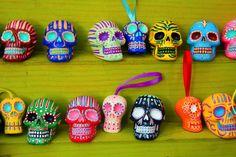 color sugar skulls