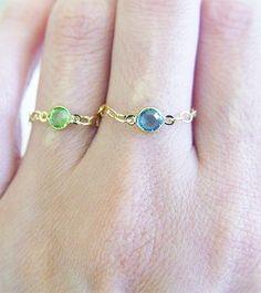 Green Peridot Chain Ring 14k Gold
