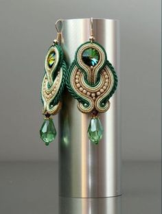 Shop for soutache on Etsy, the place to express your creativity through the buying and selling of handmade and vintage goods. Cute Jewelry, Jewelry Crafts, Beaded Jewelry, Handmade Jewelry, Handmade Necklaces, Soutache Necklace, Bead Earrings, Embroidery Jewelry, Beaded Embroidery
