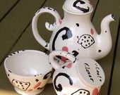 Teapot and two cups teapot set white black and red swirls funky and modern