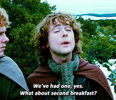 """What about second breakfast"" gif  haha his face at the end :)"