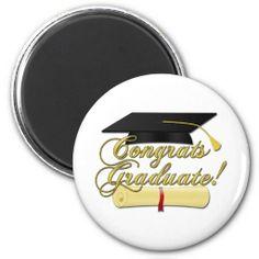 Congrats Graduate #Diploma and #Graduation hat Magnet by #PLdesign #GraduationGift #magnet #CongratsGraduate