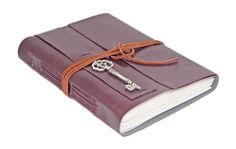 Large Burgundy Faux Leather Wrap Journal with Lined Paper and Key Bookmark - Ready To Ship -