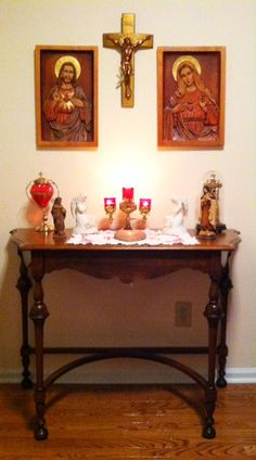 Jesus and Mary shrine altar candles sacred space cross symmetry