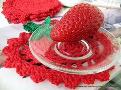 CROCHET COASTERS SET 4 (pc), Drink Coasters Red Strawberry, Easter Gift, Red Table Decor, Valentine Gift, Cyprus Crochet Lyubava. $14.99, via Etsy.