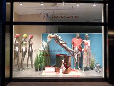 Wäschetraum storefront in Hilden, Germany, showcasing swimwear made with LYCRA® fiber. Take off with LYCRA® fiber!