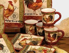Tuscan Rooster Mugs, By Certified International. The Tuscan Rooster  Collection Features Rooster Themed