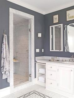Find design inspiration in 15 walk-in showers that beautifully stretch a small bathroom's footprint, increase its functionality, and amplify its good looks. #MasterBathrooms Bad Inspiration, Bathroom Inspiration, Bathroom Renos, Master Bathroom, Bathroom Ideas, Bathroom Remodeling, Bathroom Designs, Bathroom Layout, Navy Bathroom
