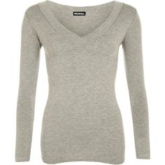 Sophia V Neck Long Sleeve Top ($14) ❤ liked on Polyvore featuring tops, grey, grey top, v-neck tops, vneck tops, form fitting tops and rayon tops