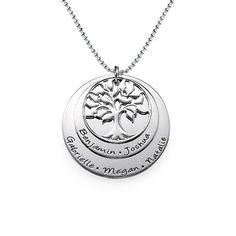 Layered Family Tree Necklace in Silver   MyNameNecklace