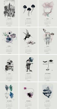 Sélection de calendriers 2016 design et graphiques - Calendrier à imprimer Sara Woodrow: