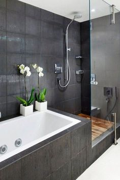 """Contemporary Master Bathroom with Master bathroom, Elitetile classic 13"""" x 13"""" glazed porcelain floor and wall tile"""