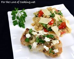 Greek Chicken Thighs with Lemon, Capers, and Feta | I found another Cooking Light recipe on My Recipes that looked delicious and interesting. I adapted it quite a bit to suit my families tastes and it turned out excellent. Both of my kids gobbled up their chicken and my husband had seconds. The chicken was tender and the sauce helped make it juicy and flavorful. I loved the combination of garlic, capers, and lemon and thought the feta topped it off nicely. | From: fortheloveofcooking.net