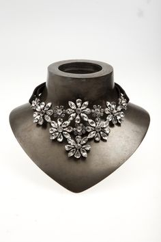 Flower Black Leather Necklace by Emanuele Bicocchi Jewelry Accessories, Fashion Accessories, Jewelry Design, Fashion Jewelry, Casual Rings, Houston, Body Adornment, Leather Necklace, Diamond Are A Girls Best Friend