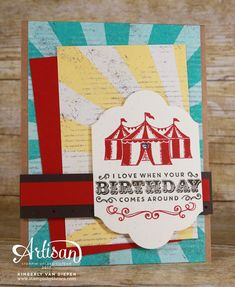 Celebrate with five birthday cards under the Big Top. Carousel Birthday stamp set is perfect if you enjoy layering and a vintage vibe to paper crafting.