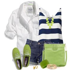 """""""Neutrals With a Green Pop!"""" by tufootballmom on Polyvore"""