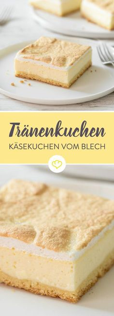 Käsekuchen mit Baiser aka Tränenkuchen vom Blech Today there is a very special cheesecake - a cheesecake with meringue. A tear cake, a gold droplet cake or just the best that your baking sheet h Mexican Food Recipes, Sweet Recipes, Cake Recipes, Dessert Recipes, Dinner Recipes, Food Cakes, Cupcake Cakes, Desserts Français, Mini Cheesecake