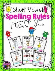 Short Vowel Spelling Rules: This is a set of 12 posters that cover six short vowel spelling rules (2 posters for each rule). #TpT #TeacherGems #shortvowels