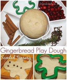 Christmas Sensory Play Scented Gingerbread Men: cinnamon sticks, cranberries, cloves, cookie cutters, and pine.